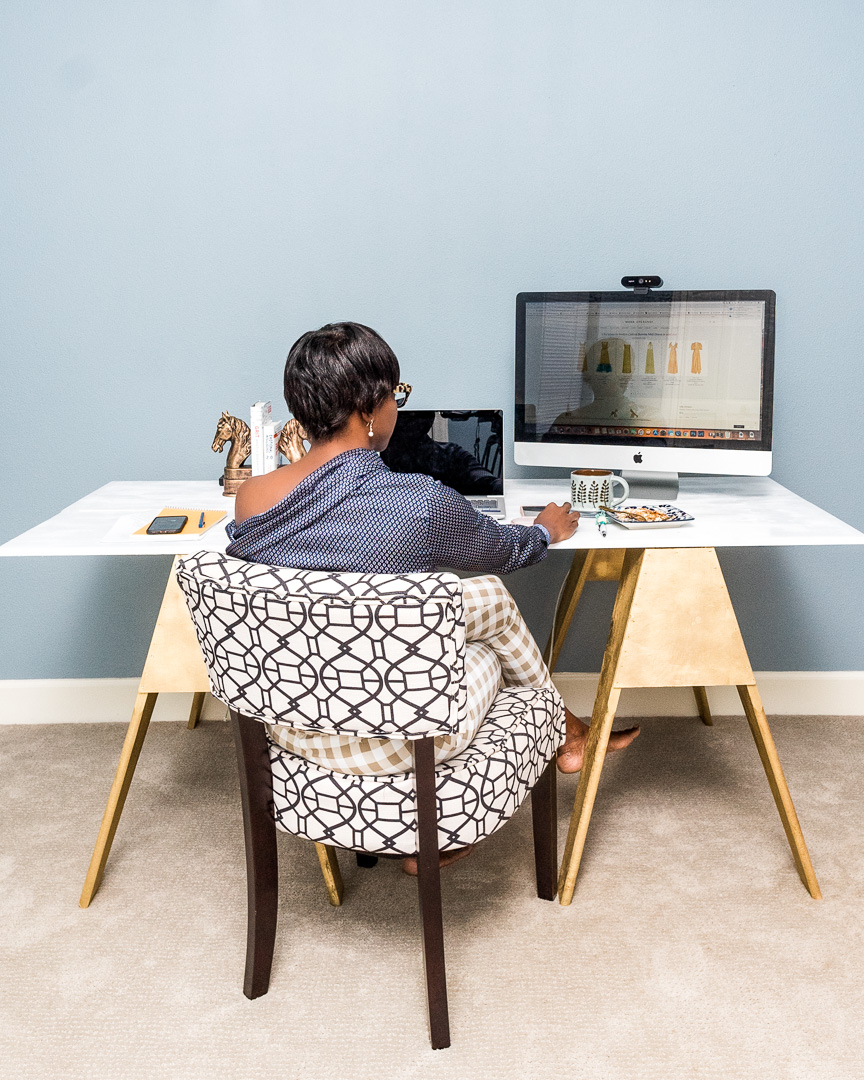DIY Home Office Desk with Sawhorse Legs