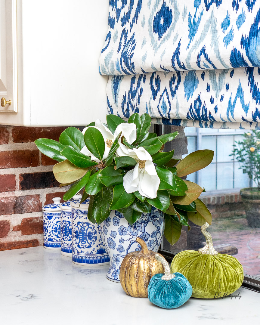 Touches of Fall with Blue and White